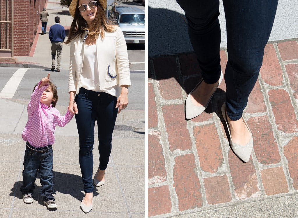 On the left, woman walking with her child while wearing a pair of Rothy's flats. On the right, a close up of neutral-hued Rothy's flats.