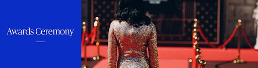 Woman walking down the red carpet wearing a sparkly dress