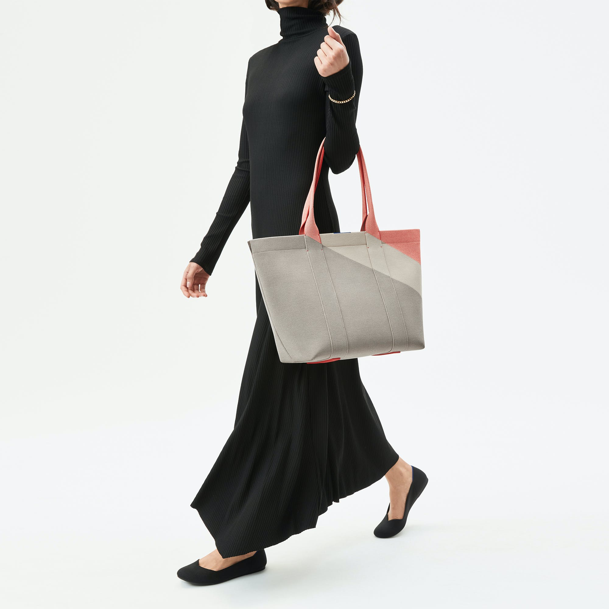 The Essential Tote in Desert Sand shown from the front.