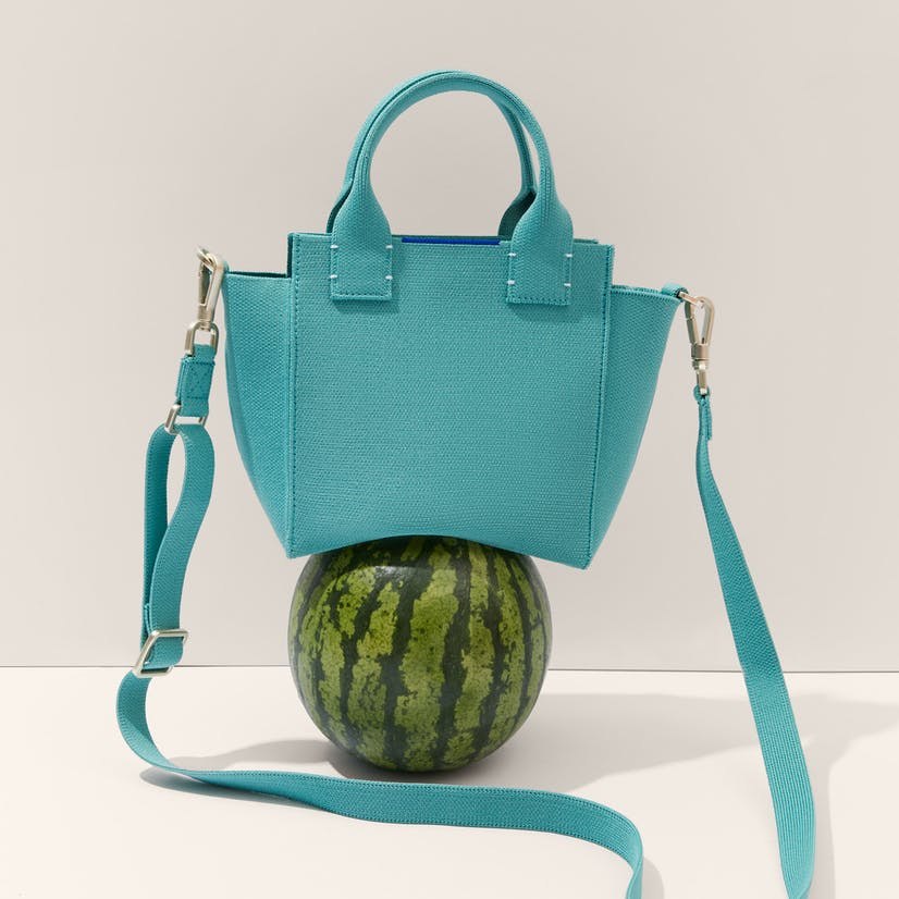 The Mini Handbag in Juniper Green shown on top of a watermelon.