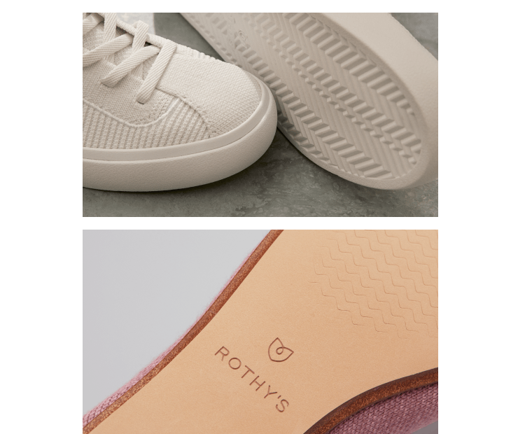 The outsoles of The Lace Up in Bright White and the vegan leather outsoles of a merino style.