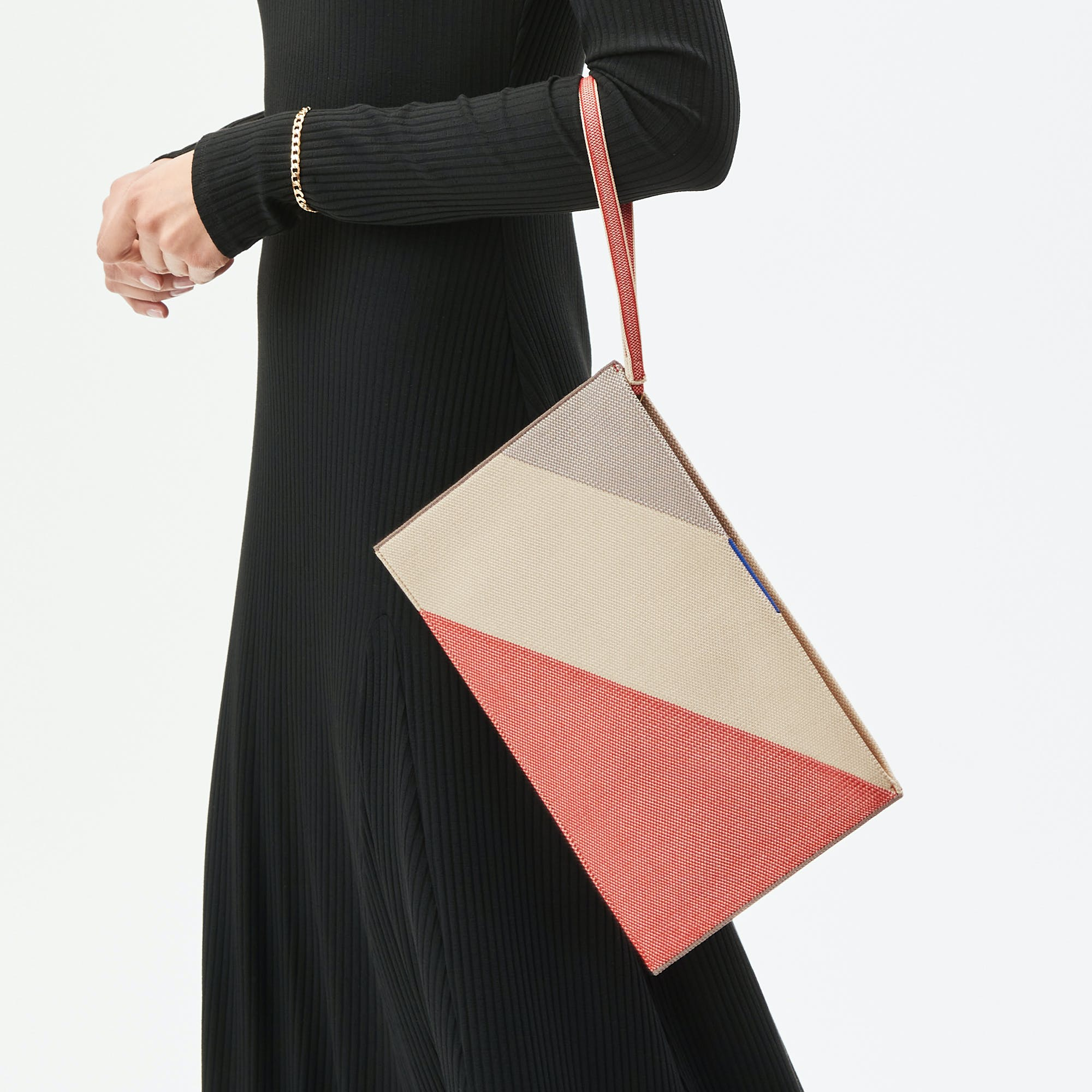 The Essential Pouch in Desert Sand shown from the front.