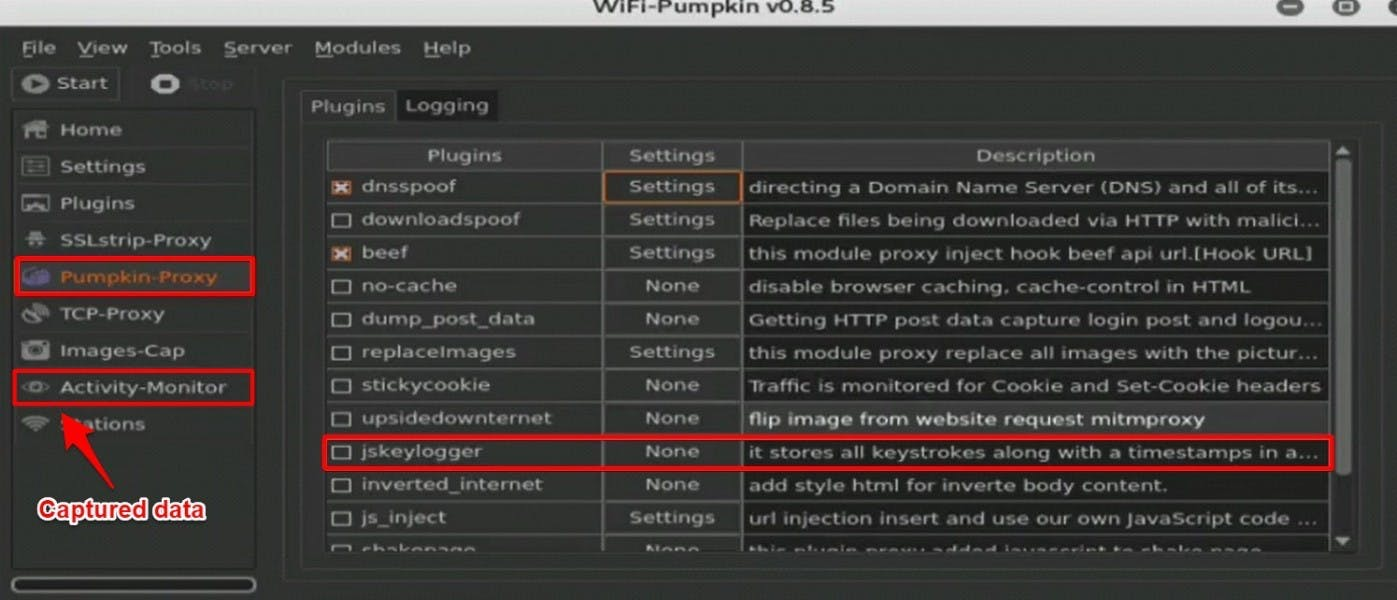 Wifi Pumpkin Proxy section
