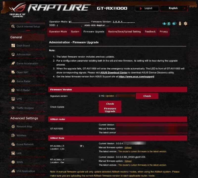 Asus ROG router web interface