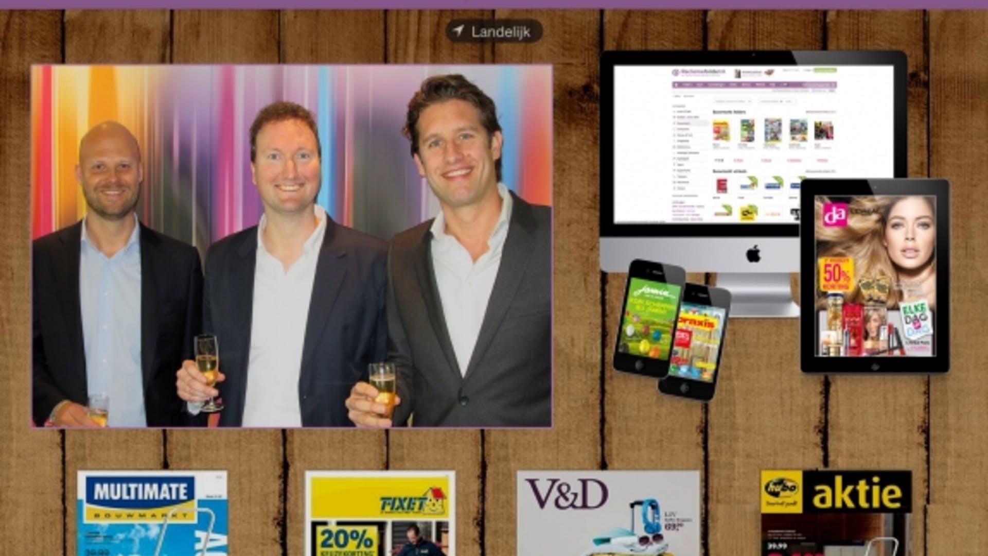Jeffrey van Rossum en Robin Streng, oprichters van Reclamefolder.nl en Nicolas Eglau, directeur Ventures RTL Nederland