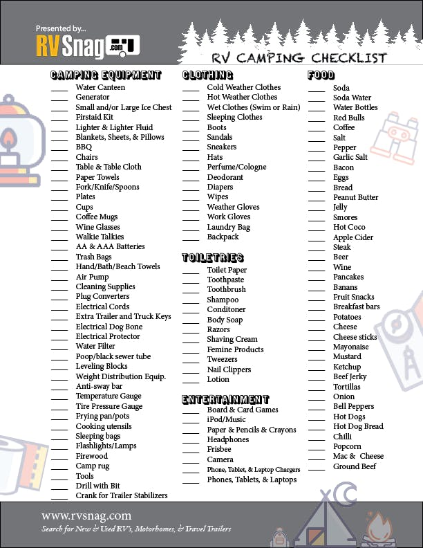 FREE RV Snag Camping Checklist for 2020 and 2021 Camping - Page 1
