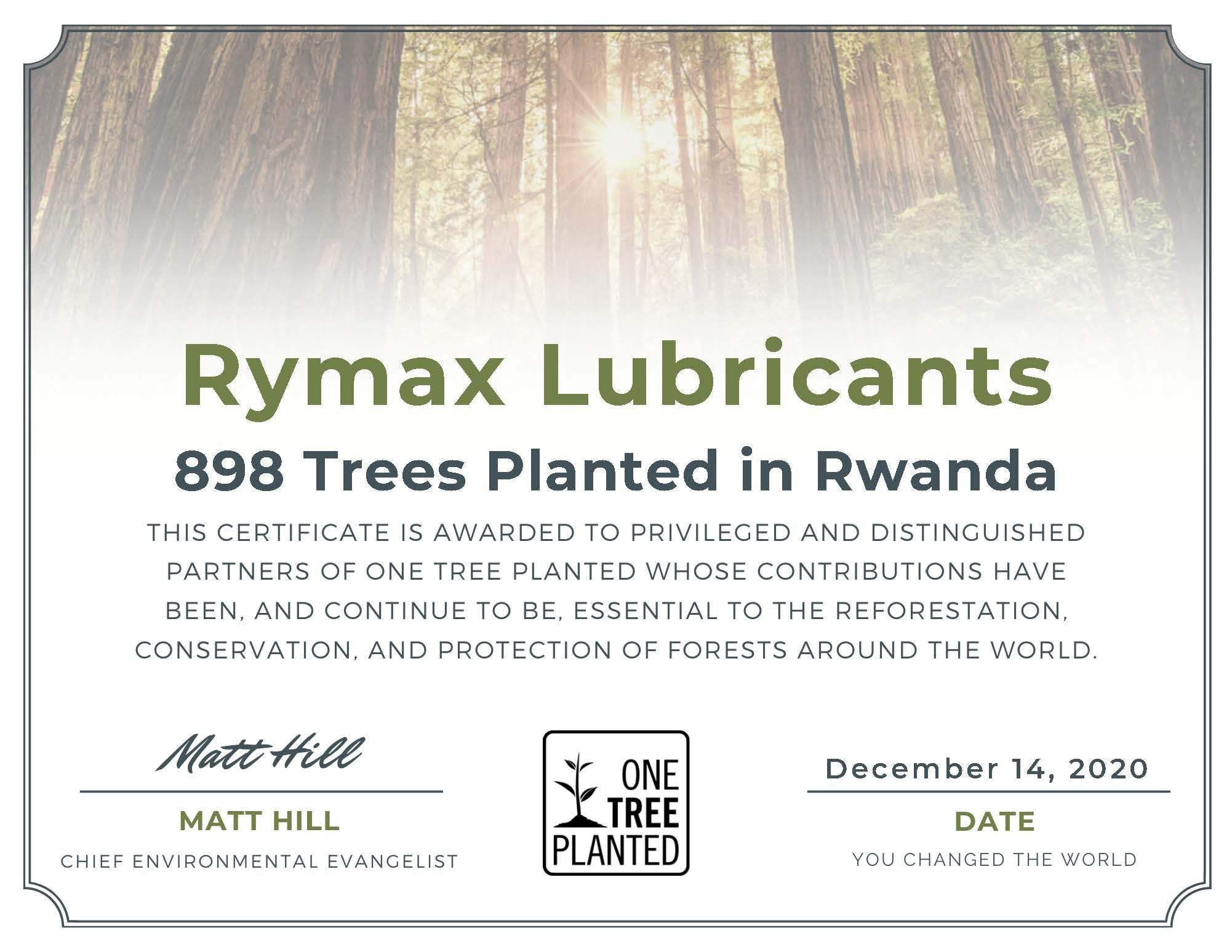 Official certificate One Tree Planted awarded to Rymax Lubricants