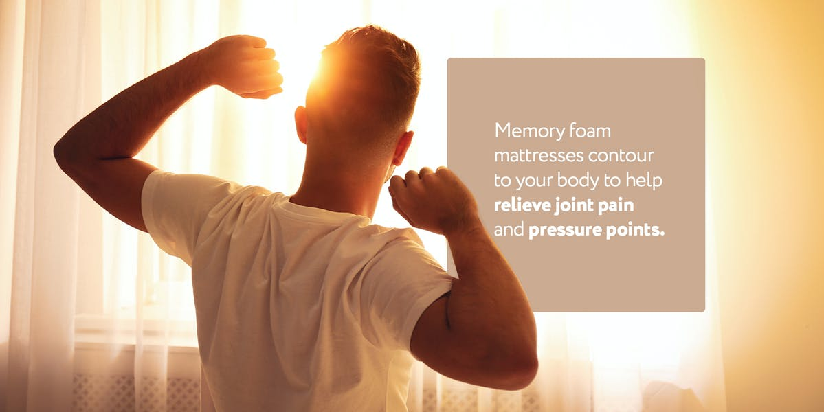 person with pain waking up, with description of how memory foam relieve pain