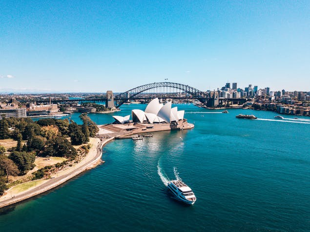 View of Sydney, Australia on the water with bridge in background