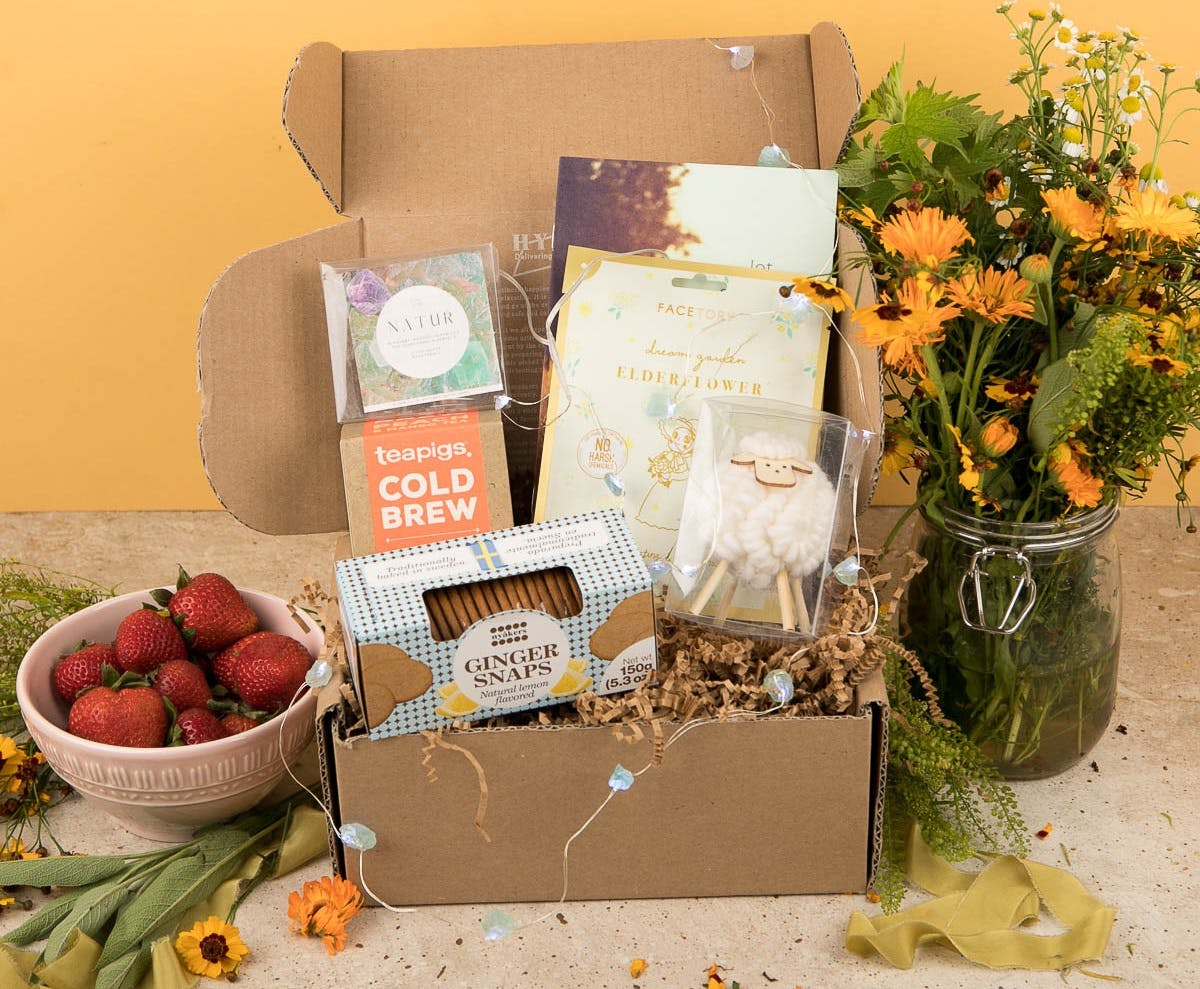 hygge box - self-care subscription box with products in it