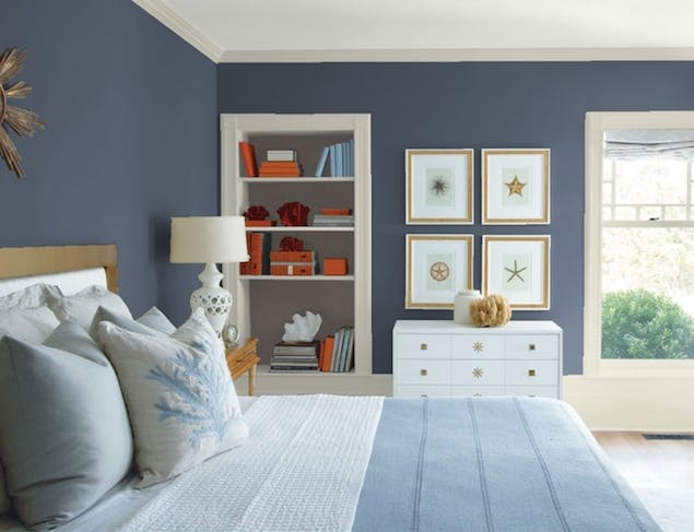Evening Dove paint color seen on bedroom wall