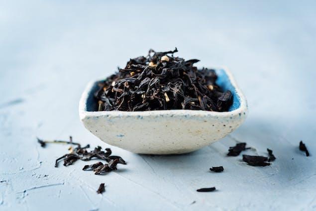 black tea leaves in a bowl