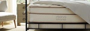 saatva classic innerspring mattress on top of mattress foundation