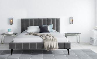 bed frame dimensions - saatva bed frame in bedroom