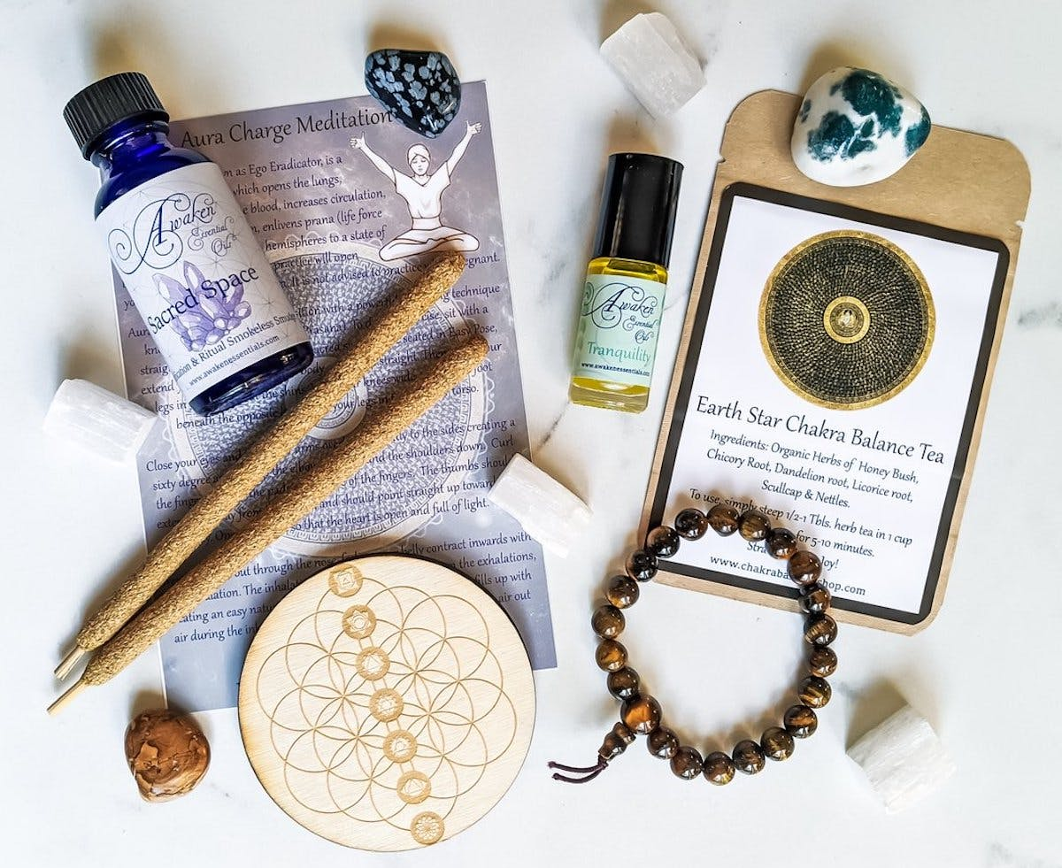 chakra box - self-care subscription box with products in it