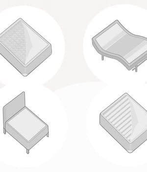 illustration of a box spring, platform bed, foundation, and adjustable base next to each other