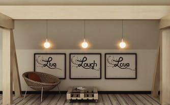 live laugh love posters hanging on bedroom wall