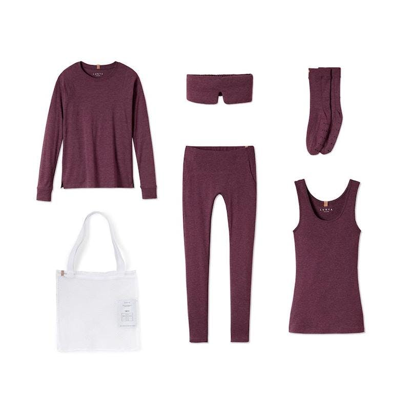 matching loungewear set in maroon with white tote bag