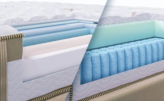 memory foam vs hybrid - image of loom & leaf and saatva latex hybrid
