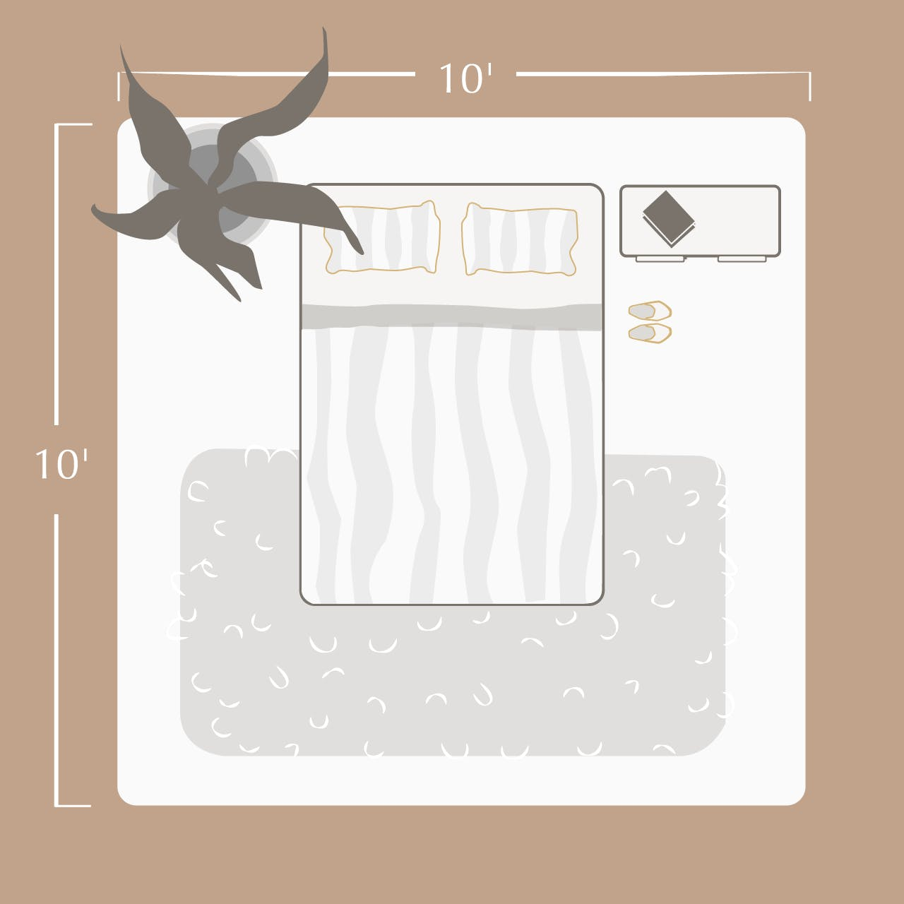 illustration with full size bed in it showing room dimensions of 10 feet by 10 feet