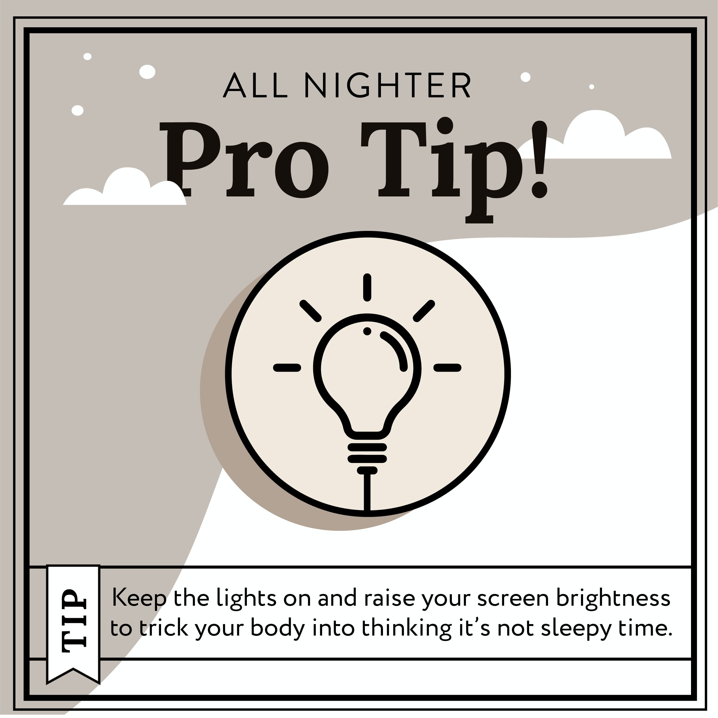 lightbulb with copy on it explaining how to use light to stay awake overnight