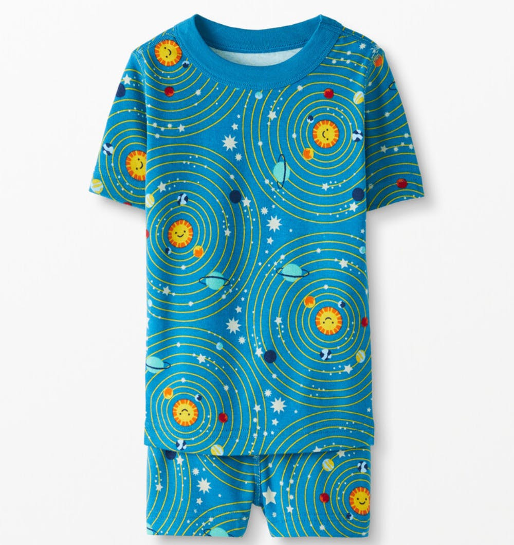 pajama shirt and shorts with solar system print