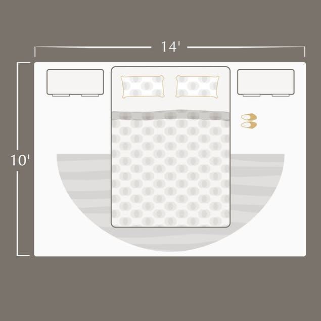 bedroom with queen size bed in it with dimensions of room labeled 14 feet by 16 feet