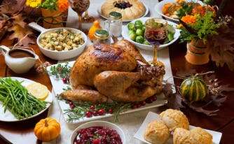 thanksgiving dinner on table, which can lead to food coma