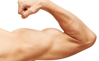image of strong flexed muscle