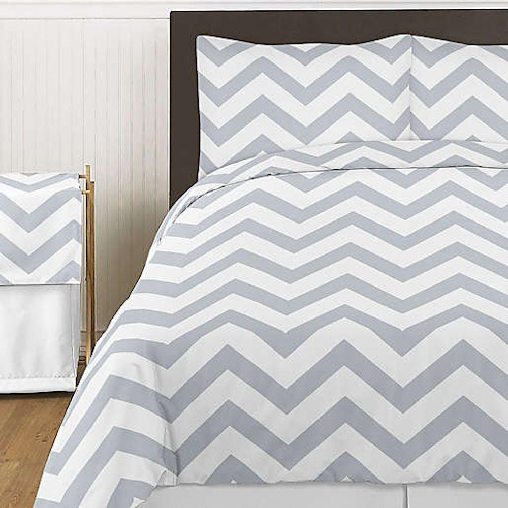 white and grey chevron comforter