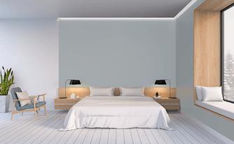 bedroom that features design principles of minimalism