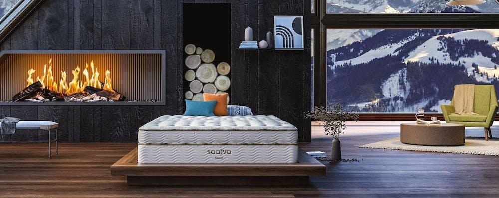saatva classic innerspring mattress inside cabin with fireplace
