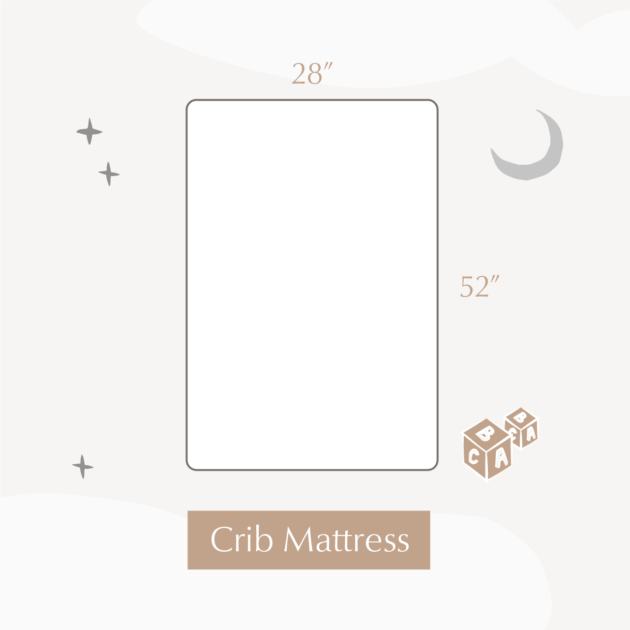 illustration of crib mattress showing the dimensions