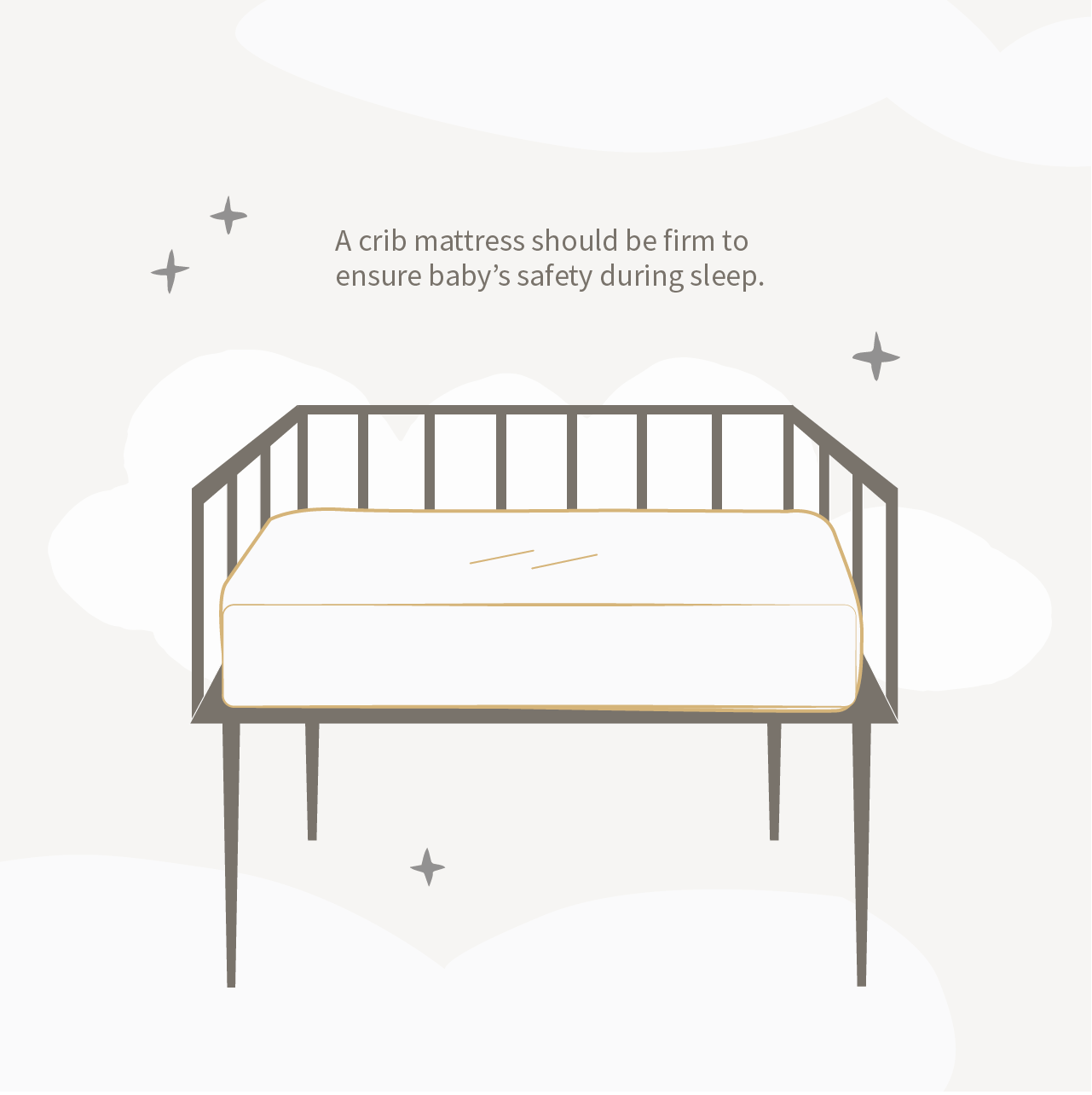 illustration of crib mattress in crib showing importance of mattress firmness