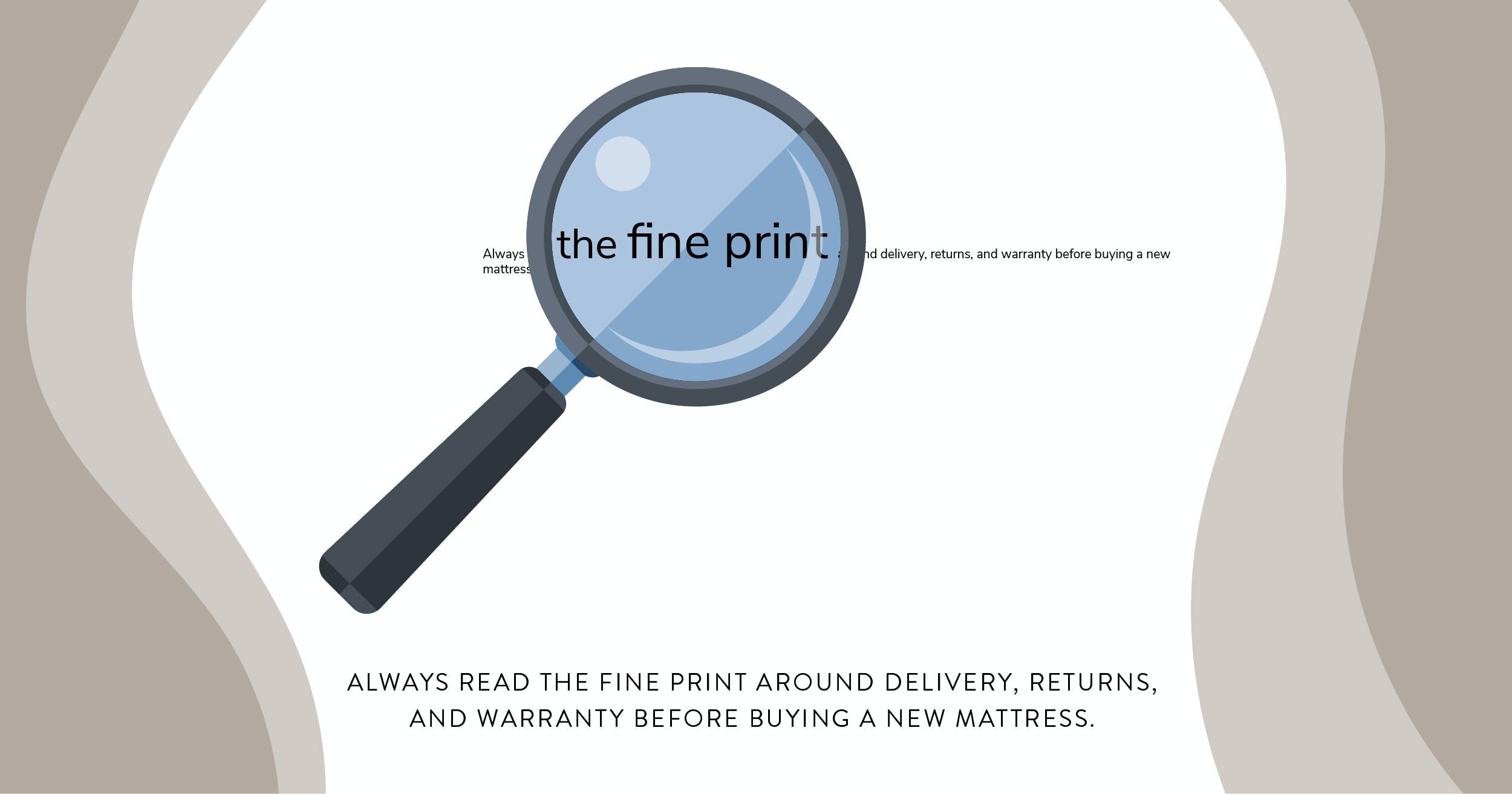 illustration showing mattress fine print policies