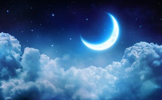 dreamy sky with clouds and moon