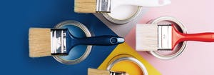 trending bedroom paint colors, including white, navy, yellow, and pink