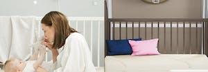 parent with baby in a crib next to saatva crib mattress