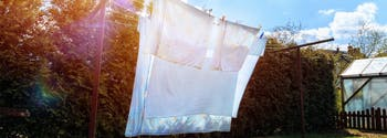 image of clean sheets on clothesline