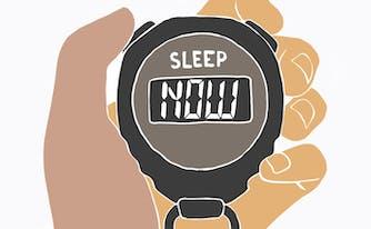 image of sleep consultant holding stopwatch
