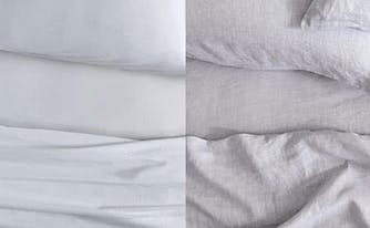 cotton and linen sheets next to each other