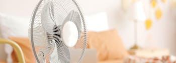 image of fan in hot bedroom