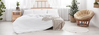 image of bed, chair, and plants - feng shui your bedroom