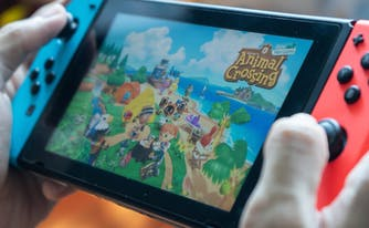 image of person playing animal crossing on nintendo switch
