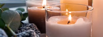 candles on bed