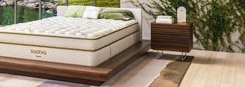 bedroom featuring a saatva mattress designed in japandi style