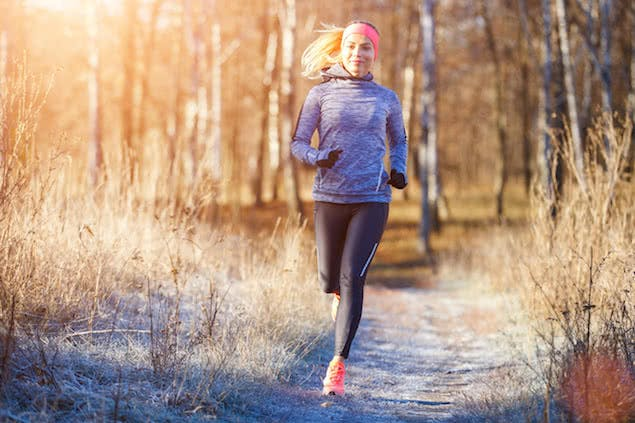 person running outdoors in winter