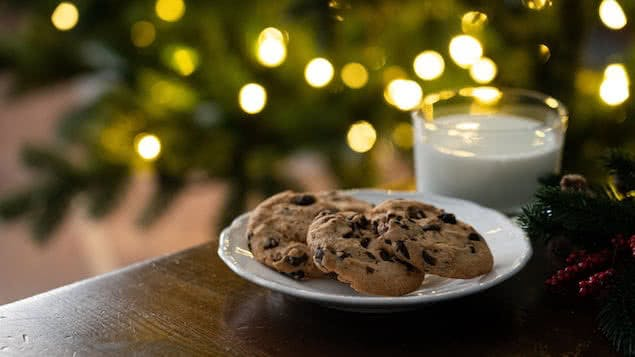 plate of chocolate chip cookies and glass of milk