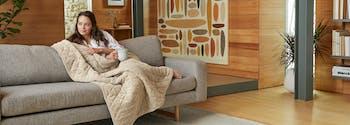 image of saatva weighted blanket