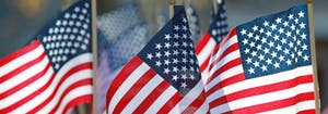 american flags on display to honor active military and veterans